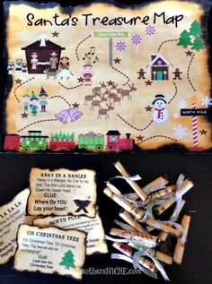 Printable Christmas Treasure Map. Fun way to lead the kids to a special present on Christmas day, or just for a fun activity during December