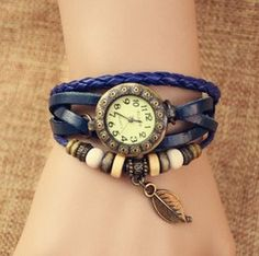 Handmade Vintage Style Leather Band Watches Woman Girl Lady Quartz Wrist Watch  dark blue