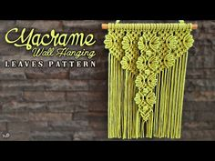 Macrame Wall Hanging Patterns, Macrame Patterns, Macrame Design, Macrame Tutorial, Macrame Projects, Tree Branches, Plant Hanger, Projects To Try, Youtube