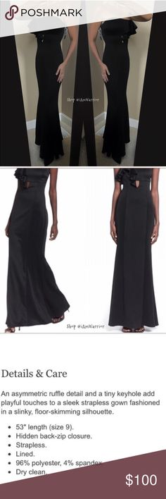 🆕NWT long black strapless gown with ruffle 😍New with tags gorgeous black matte poly spandex body hugging strapless gown with sexy ruffle & keyhole detail w/ slight mermaid fit. Straight solid back. Made in the USA. Sized 9 but runs very small so listing as a 6. If this is your 1st time shopping my closet, please read my about me & my closet listing before any inquires. Price firm unless bundled. Boutique Dresses Strapless