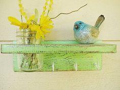 distressed green wood wall shelf/hooks