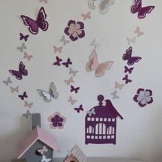 Les 7 meilleures images de d coration chambre b b rose - Deco chambre bebe fille papillon ...