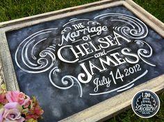 my friend could make this..Shabby Chic Custom Wedding Chalkboard Art. $115.00, via Etsy.