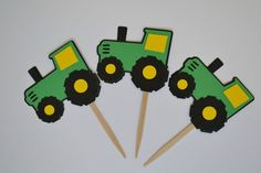Tractor Cupcake Toppers by Simplybannerlicious on Etsy