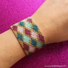 Peyote Stitch Cuff Bracelet PDF Pattern  by CraftaholiqueDesigns
