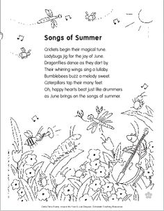 """Use poems to teach children about nature and bugs! Extend learning by playing a consonant """"buzz"""" game and creating fingerprint crafts. Nature Poems For Kids, Poetry For Kids, Kids Poems, Preschool Poems, Summer Poems, Poems About Summer, Summer Quotes, Seasons Poem, Finger Plays"""