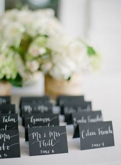 Wedding Black Name Place Cards, Escort Cards, Table Cards, Chalk board Place Cards with White Ink Custom Hand Wedding Calligraphy
