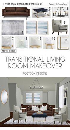 Postbox Designs Interior E Design Transitional Living Room Neutral Family Makeover