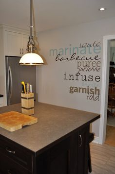 What a unique way to add pizazz to a blank kitchen wall! Creating custom designs are so easy with Uppercase Living. #UppercaseLiving #WordsWithMelissa #kitchen