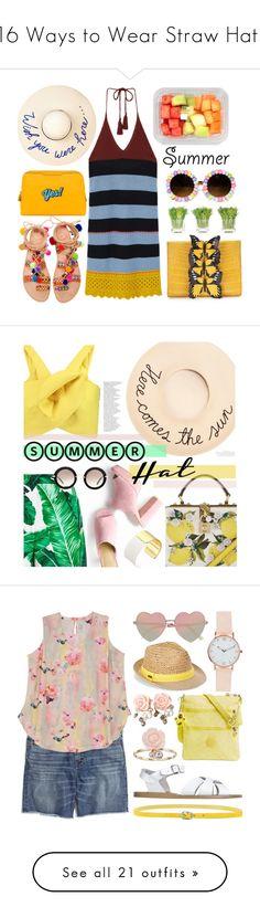 """16 Ways to Wear Straw Hats"" by polyvore-editorial ❤ liked on Polyvore featuring summerhats, strawhats, waystowear, Elina Linardaki, Eugenia Kim, Anya Hindmarch, MANGO, Nancy Gonzalez, NDI and Summer"
