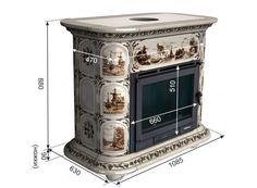 Изразцовая печь-камин ПРОВАНС Полевые цветы, центральная (Изразцовые печи) 280 м3