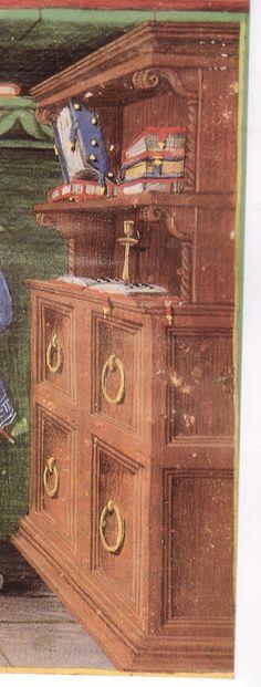 detail of cabinet, Avincenna Canon medicianae Florence, Biblioteca Medicea Laurenziana.  Ferrarese style by Mateo Crivelli 1452-1476