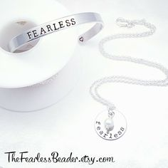 My signature FEARLESS necklace and FEARLESS bracelet SET! Buy them together and save money! From my line of ★Metal Mojo★ to inspire and