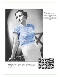 1930s Top with Round Neck and Cap Sleeves  Crochet by eStitches, $3.75