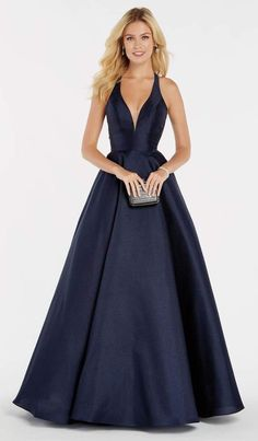 Alyce Paris Style 60393 Be The Belle Of The Ball In This Simple Yet Stunning Low Cut, Liquid Shantung A-Line Ballgown Style. Available In Alyce's Signature Colors: Wine, Navy, Money Bags, Heart Of Gold Designer Prom Dresses, A Line Prom Dresses, Homecoming Dresses, Formal Dresses, Designer Gowns, Elegant Dresses, Wedding Dresses, Evening Dresses, Prom Dress Stores