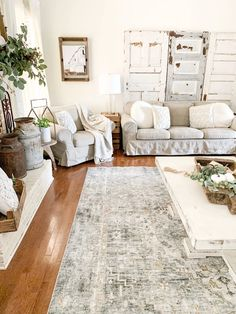 Oct 2019 - Today, I am so excited to be sharing my new vintage inspired living room rug from Boutique Rugs. It has the perfect mix of dark tones, neutral feels Shabby Chic Living Room Furniture, Cottage Living Rooms, Apartment Living, Rustic Living Rooms, House Furniture, Paint Furniture, Modern Living, Living Room Area Rugs, Living Room Grey