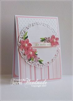 Delicate Quilling Card made with paper stripes by Sweet Handmade Quilling Birthday Cards, Paper Quilling Cards, Paper Quilling Flowers, Quilling Comb, Paper Quilling Patterns, Neli Quilling, Quiling Cards, Quilling Photo Frames, Quilled Roses
