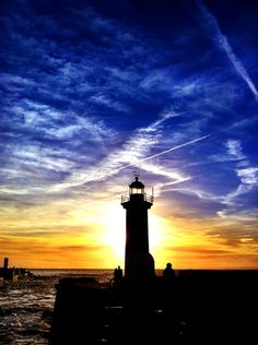 Lighthouse and #sunset at the #beach in #Portugal