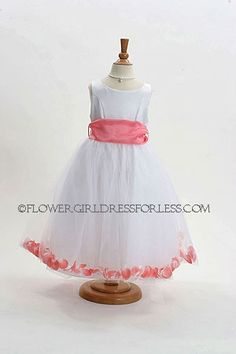 Flower Girl Dress Style 152-Choice of White or Ivory Dress with Coral Sash and Petals