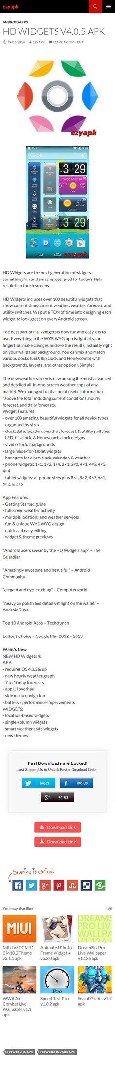 Android Apps HD Widgets v4.0.5 apk - ezyapk HD Widgets are the next generation of widgets - something fun and amazing designed for today's high resolution touch screens. Show current time, weather etc http://www.ezyapk.com/android-apps/hd-widgets-v4-0-5-apk/