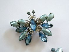 Vintage Blue Butterfly Brooch and Earring Set Hurricane Sandy Relief on Etsy, $64.29 AUD