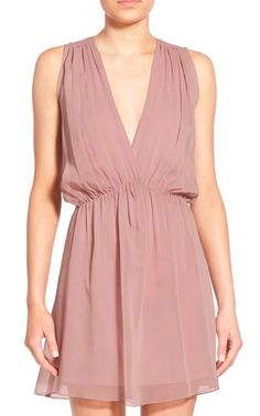 Shirred v-neck dress
