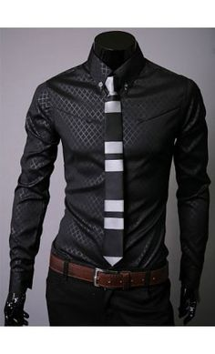 Mens long sleeve button up shirt with web print overlay.