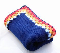 """Navy Blue Knitted Baby Blanket with crocheted edge.  Not your """"usual"""" baby blanket, but that's why I like it!"""