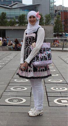 Lolita fashion purple and black n white pony unicorn pastel hijab muslim simple kawaii Japanese style #Lolita