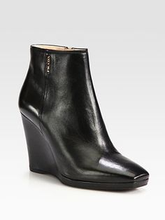Prada - Leather Wedge Ankle Boots
