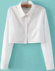Blusa Crop solapa manga larga-blanco 11.40