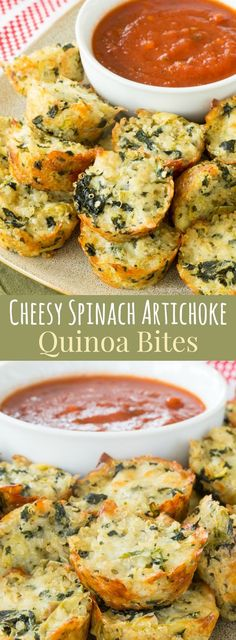 Cheesy Spinach Artichoke Quinoa Bites – an easy, healthy appetizer or snack recipe with three kinds of cheese!: Cheesy Spinach Artichoke Quinoa Bites – an easy, healthy appetizer or snack recipe with three kinds of cheese! Yummy Appetizers, Appetizer Recipes, Mexican Appetizers, Halloween Appetizers, Cheese Appetizers, Party Appetizers, Spinach Appetizers, Prociutto Appetizers, Elegant Appetizers
