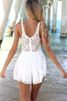 Super Cute! Love the Lace! White Lace Hollow-out Lace Splicing Chiffon Jumpsuit #Sexy #White #Lace #Jumpsuit #Spring #Break #Beach #Fashion #Ideas