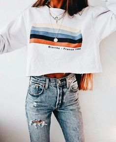 Long Sleeve Rainbow Stripes Sweatshirt - outfits - New Hair Styles Look Fashion, Teen Fashion, Fashion Outfits, Womens Fashion, Fall Fashion, High Fashion, Fashion Trends, Fashion Clothes, Fashion Ideas