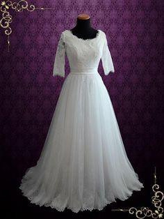 Modest Princess Style French Lace Wedding Dress with Half Sleeves and Tulle Skirt | Hallie