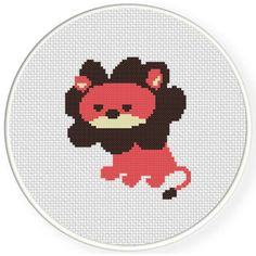 Free Cross Stitch Chart for April 30th 2017 Only - Lion Cute http://www.DailyCrossStitch.com/ ** Be Sure To Join Our Mailing List Below and Get a Reminder When New Free Charts Are Available Click HERE to Signup: http://dailycrossstitch.com/optin/ #needlepoint