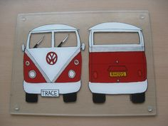 Hand Painted Personalised VW Camper Glass 400mm x 300mm Worktop Saver
