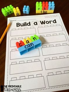 Using building blocks to spell sight words plus a FREEBIE recording sheet on the…