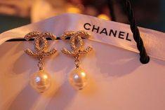 Chanel Vintage 18k Gold Diamond & Pearl Earrings