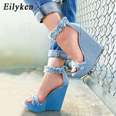 Eilyken 2019 New Designer Print Denim Sandals Roman Sandals High Quality Wedges High Heels Peep Toe Platform Shoes Woman-in High Heels from Shoes on AliExpress Pretty Shoes, Beautiful Shoes, Wedge Heels, Pumps Heels, Shoe Wedges, Heeled Sandals, High Heels Plateau, Denim Sandals, Denim Shoes