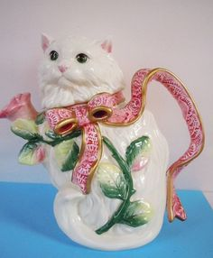 Fitz & Floyd Kitten and Roses Teapot