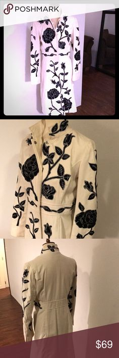 Black Embroidered Coat Looking for a show stopper of a coat? This winter white velvet full length coat with black embroidered roses is it! Have a winter event and don't want to freeze? You can wear this all night and look fabulous while staying toasty warm! Newport News Jackets & Coats