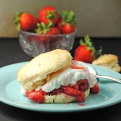 The classic summer berry dessert: Strawberry Shortcake, with fresh strawberry syrup and homemade whipped cream!