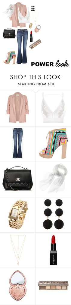 """Woman power"" by jaanderson-1 ❤ liked on Polyvore featuring River Island, Jerome C. Rousseau, Chanel, Cara Accessories, Natalie B, Smashbox, Too Faced Cosmetics and Urban Decay"