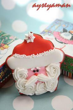 "santa cupcake cookie ""christmas cupcake cookies"" by ayse's cakes in new jersey, new york, via Flickr"