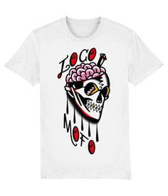 Tattoo t Shirts : Loco Mofo - White  Not one for those who want a design that's run-of-the mill. This skull is definitely the rebel's hallmark; the skull and dagger often indicates that your philosophy of life means death holds no fear for you.   Material: 100% organic ringspun combed cotton.  Medium fit. Single jersey. Set-in sleeve. 1x1 rib at neck collar.  Inside back neck tape in self fabric.  Sleeve hem and bottom hem with wide double needle topstitch.  Weight: 180 gsm. Sailor Tattoos, Tattoo T Shirts, School Looks, Tattoo Studio, Tattoos For Guys, Rebel, Philosophy, Organic Cotton, Death