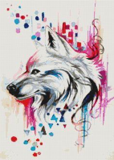 Color Wolf Digital Cross Stitch Pattern