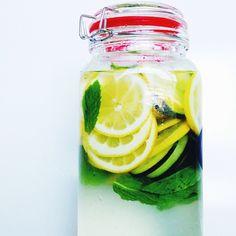 Detox Water = 2 Lemons +10 Mint Leaves + ½ Cucumber + 2 Quarts Water