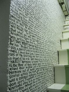 A chapter from Harry Potter and The Deathly Hallows transcribed onto a wall.