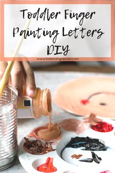 Toddler Finger Painting Letters DIY - Balancing Pieces Painting Letters, Diy Letters, Painters Tape, Toddler Learning, Finger Painting, Painting For Kids, Masking Tape, Kitchen Flooring, Some Fun
